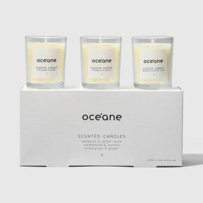 Scented Candle Océane - Kit com 3 Velas